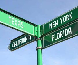 texas california florida new york signs